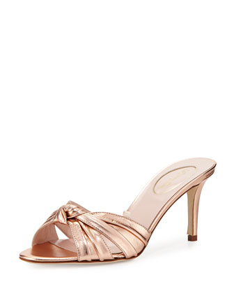 Tizzie Leather Slide Sandal, Rose Gold