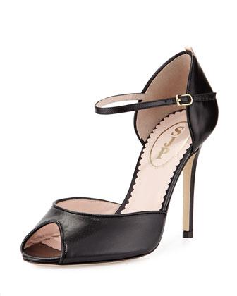 Ursula Peep-Toe Sandal, Black