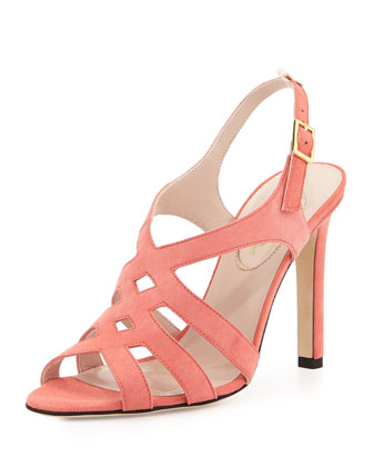 Georgie Strappy Suede Sandal, Coral
