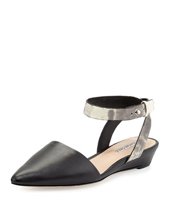 Bailey Snakeskin Ankle-Wrap Flat, Black
