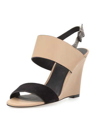 Nominee Leather Snakeskin Wedge Sandal, Black/Nude