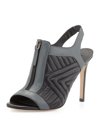 Inverse Quilted Leather Zip Sandal, Black/Gray