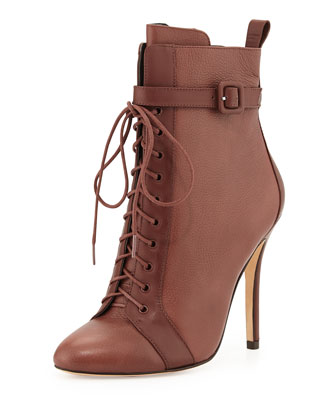 Paige Lace-Up Leather Bootie, Brown