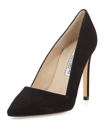 Passion Suede Classic Point-Toe Pump, Black