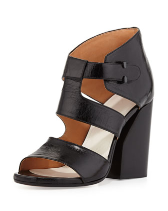 Strappy Leather Cutout Sandal, Black