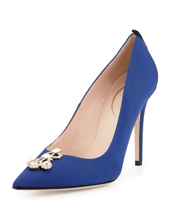 Lisbeth Grosgrain Ornament Pump, Navy