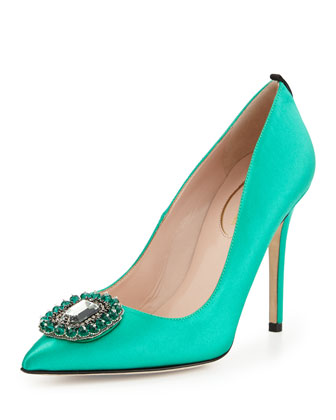 Thea Satin Ornament Pump, Green