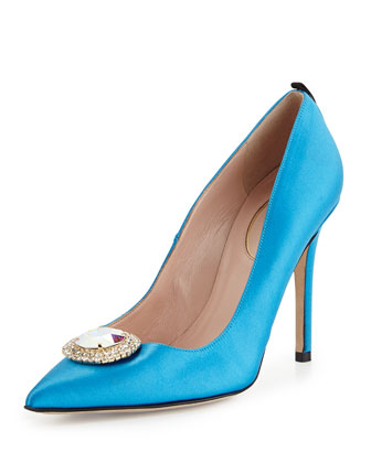 Lyra Satin Ornament Pump, Aqua
