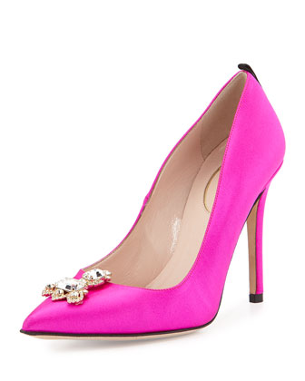 Celie Satin Ornament Pump, Pink