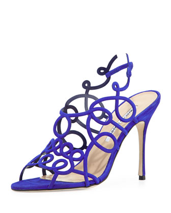 Swirly Strappy Suede Sandal, Cobalt