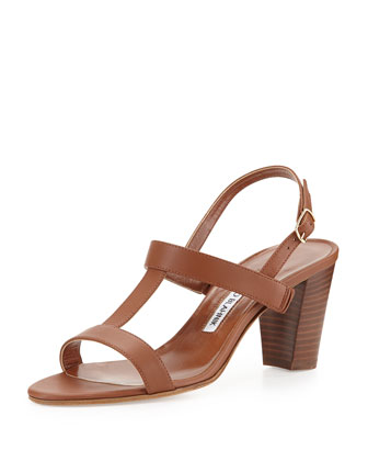 Labruni T-Strap Leather Sandal, Tan