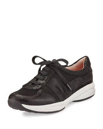 Arvella Leather Trainer Sneaker, Black