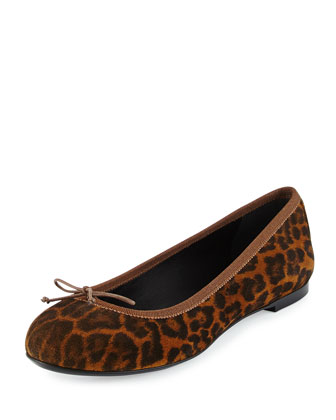 Leopard-Print Suede Ballerina Flat, Tan