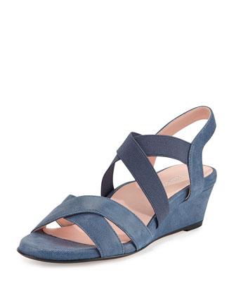 Spiro Demi-Wedge Sandal, Blue