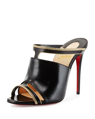 Akenana Red Sole Mule Pump, Black/Gold