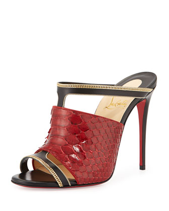 Akenana Python Red Sole Mule Sandal, Black/Red