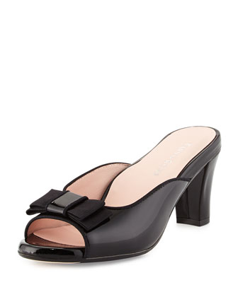 Fico Peep-Toe Bow Mule, Black
