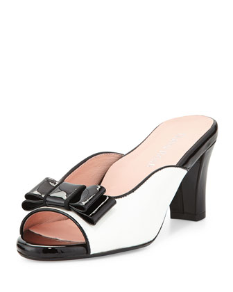 Fico Peep-Toe Bow Mule, White/Black