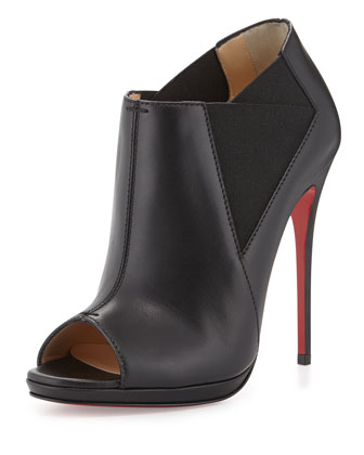 Bootstagram Red Sole Peep-Toe Bootie, Black