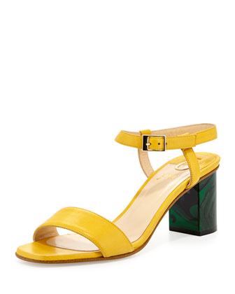 Napa Leather Chunky Heel Sandal, Yellow