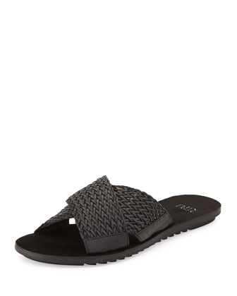 Braid Flat Crisscross Sandal, Black