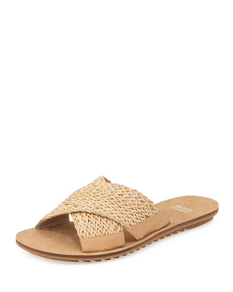 Braid Flat Crisscross Sandal, Latte