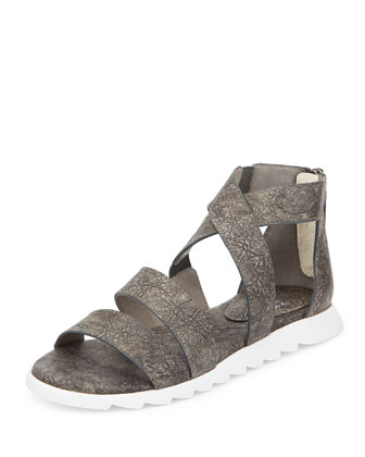 Zone Leather Multi-Strap Sandal, Gray