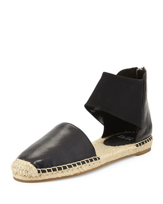 Coy Two-Piece Espadrille Flat, Black
