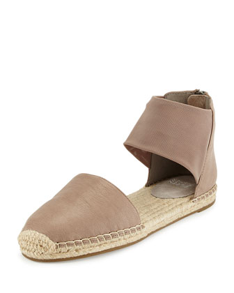 Coy Leather Espadrille Flat, Pewter