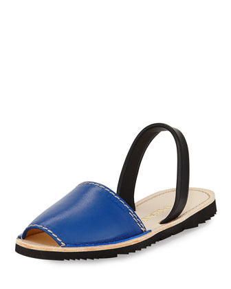 Flat Leather Slingback Sandal, Royal