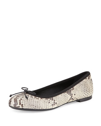 Python-Embossed Leather Ballet Flat, White/Black