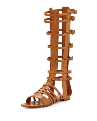 Mid-Calf Caged Gladiator Sandal, Cognac