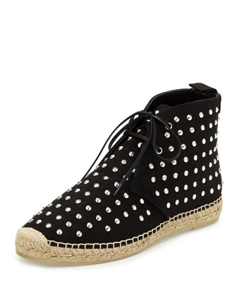 Studded Canvas High-Top Espadrille, Black