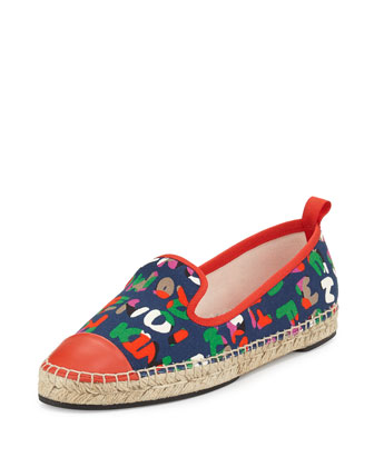 Junia Roma Canvas Espadrille, Cerulean/Poppy