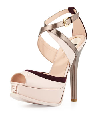 Fendista Crisscross Strap Sandal, Quartz/Plum/Copper