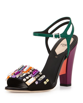 Fantasia Crystal Colorblock Sandal, Multi/Black