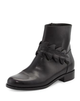 Ava Croc-Strap Leather Bootie, Black