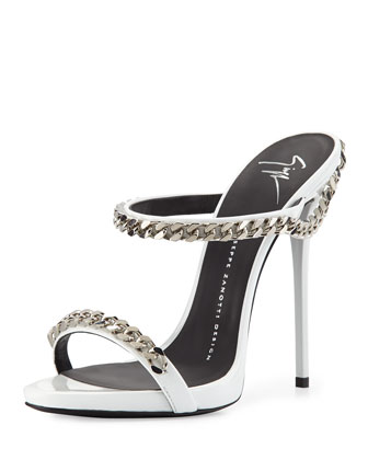 Chain-Link Leather Sandal, White