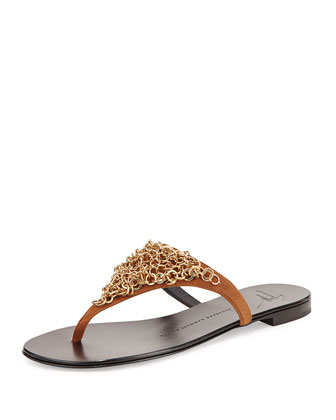 Chain Link Thong Sandal, Gold/Brown