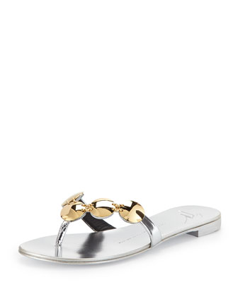 Metallic Leather Thong Sandal, Silver