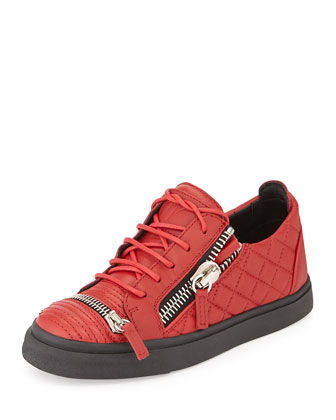 Triple-Zip Quilted Leather Sneaker, Red