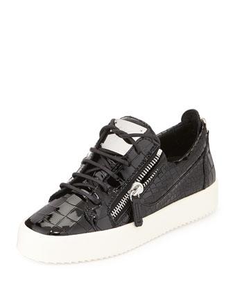 Snake-Embossed Patent Sneaker, Black