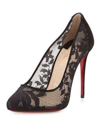 Dorissima Lace Red Sole Pump, Black