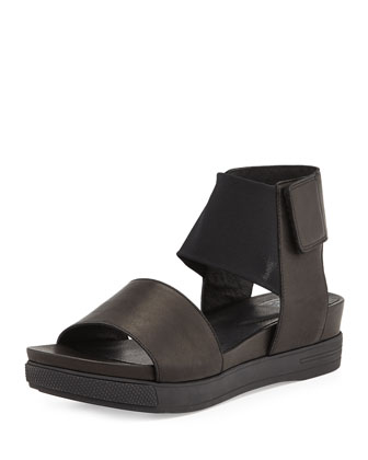 Spree Sport Leather Sandal, Black