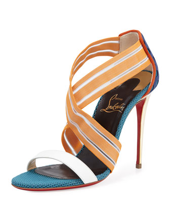 Elastigram Cross-Strap Red Sole Sandal, Multicolor