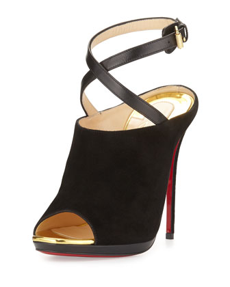 Lumir Suede Red Sole Pump, Black