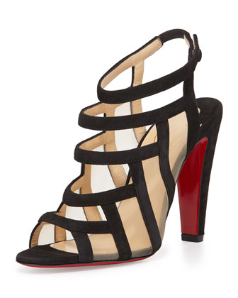 Nicobar Caged Red Sole Sandal, Black/Natural