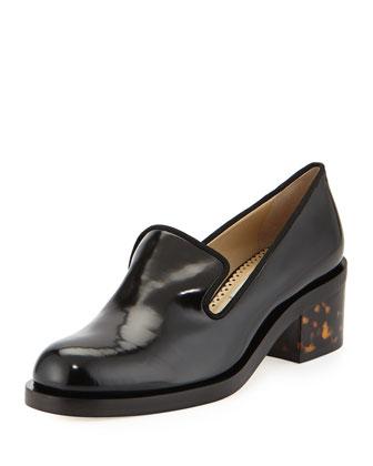 Havana-Heel Slip-On Loafer, Black