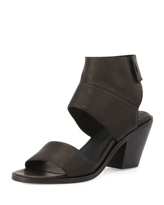 Art Two-Piece Leather Sandal, Black