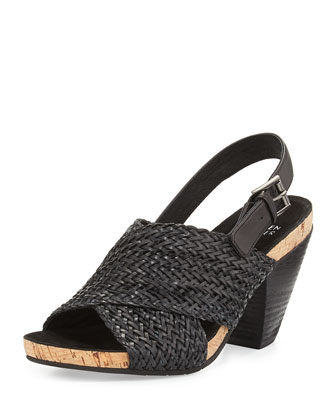 Gaze Braided Mid-Heel Sandal, Black